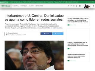 Interbarómetro U. Central: Daniel Jadue se apunta como líder en redes sociales