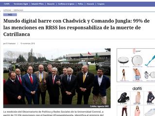 El Mostrador | Mundo digital barre con Chadwick y Comando Jungla: 99% de las menciones en RRSS los r