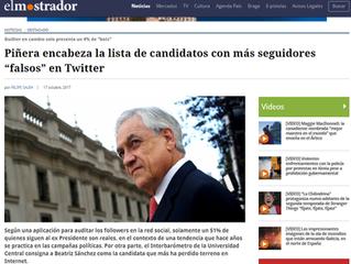 "#TermómetroDigital: Piñera encabeza la lista de candidatos con más seguidores ""falsos"" en Twitter"