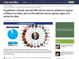 El Mostrador I El gabinete virtual: más del 90% de los nuevos ministros siguen a Piñera en redes, pe