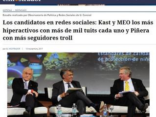 El Mostrador I Los candidatos en redes sociales: Kast y MEO los más hiperactivos con más de mil tuit