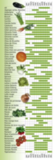aïl, aubergine, betterave, brocoli, cardon, céleri-branche, céleri pomme, chicorée, chou, chou-fleur, chou-rave, courgette, dent-de-lion, echalotte, batavia, laitue, navet, rampon, tomate grappe, chouchou