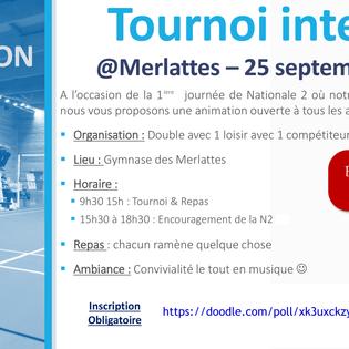 Animation : Tournoi interne Loisirs/Compétiteurs [25/09/21]