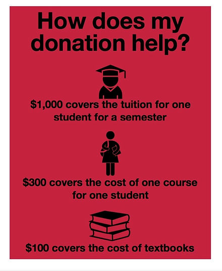 "Flyer reas, ""How does my donation help? $1,000 covers the tuition for one student for a semester. $300 covers the cost of one course for one student. $100 covers the cost of textbooks."""