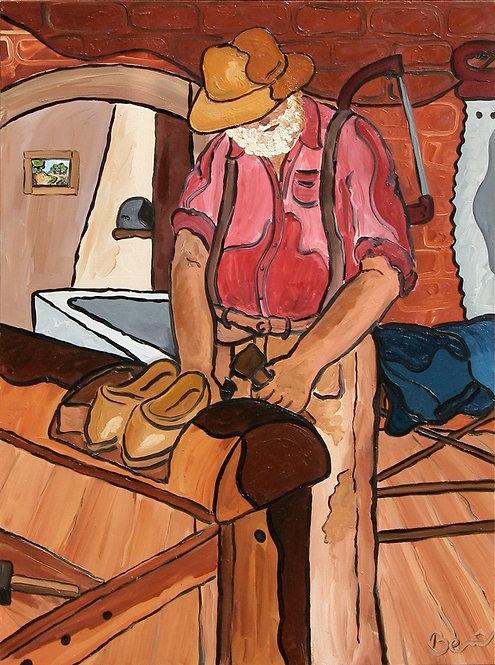 Sabotier - huile sur toile 147x114cm