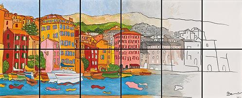 Dodécaptyque du port de Bastia - huile sur toiles 500x200cm