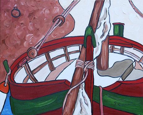 Pointu amarré - huile sur toile 81x65cm