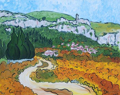 L'automne à Tautavel - huile sur toile 81x65cm