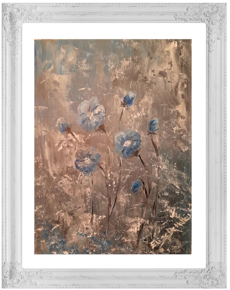 Snow on blue flowers.