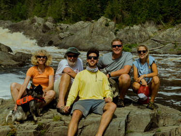 Vicki and her family on the Allagash River Wilderness Waterway.