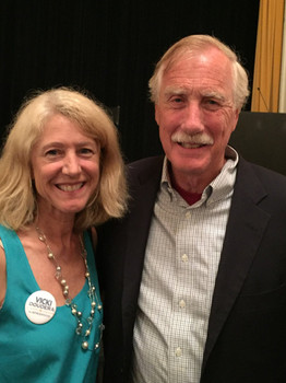 Vicki and Senator Angus King at a Midcoast Forum for Foreign Relations talk. Vicki has known and admired Angus since before he entered politics.