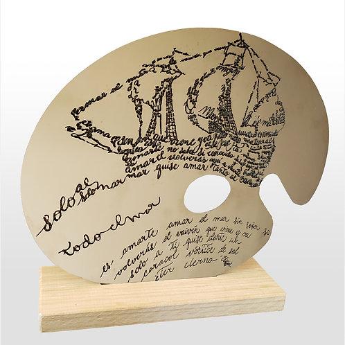 Intervención de paleta de pintor de acero con caligrama