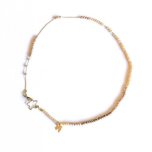 Nude Ombré Mini Dove & Star Necklace