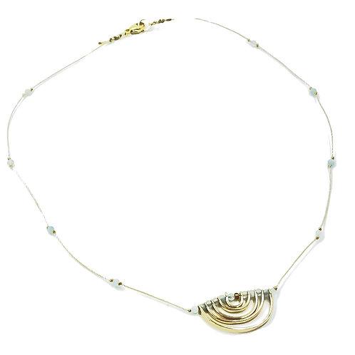 Aquamarine Stone Rainbow Necklace