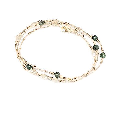Swarovski & Jade Stone Wrap Bracelet/Necklace