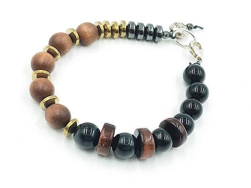 Sandalwood, Blue & Red Tigers Eye Stone Bracelet