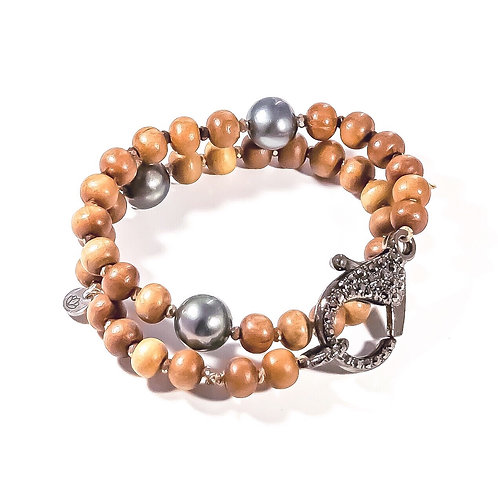 Sandalwood & Pearl Wrap Bracelet
