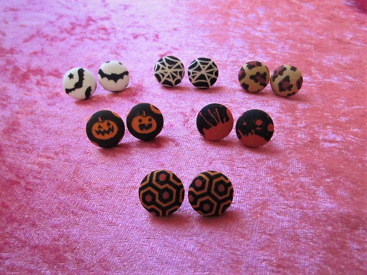 "Horror Halloween 3/4"" Earrings. Choose your print."