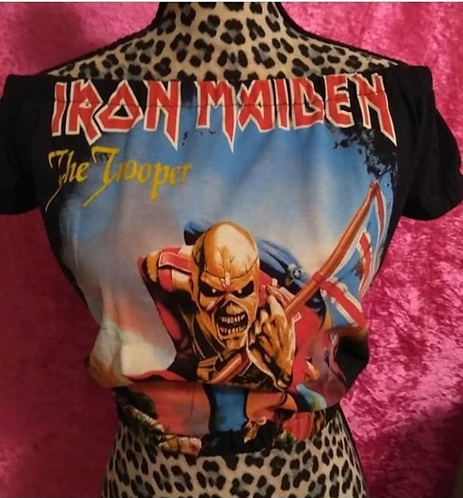 Iron Maiden The Trooper Metal/ Rock Off Shoulders Elasticized Girly Crop Top