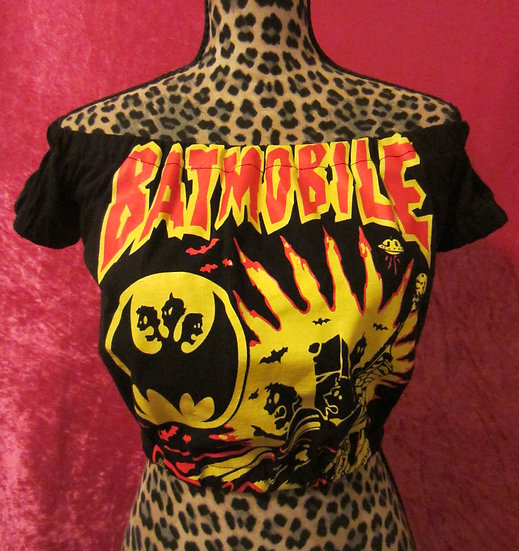 Batmobile Psychobilly Off Shoulders Crop Top
