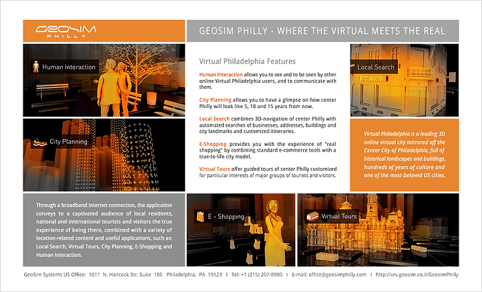 Virtual Philadelphia.  Brochure, product launch package for GeoSim Systems ltd