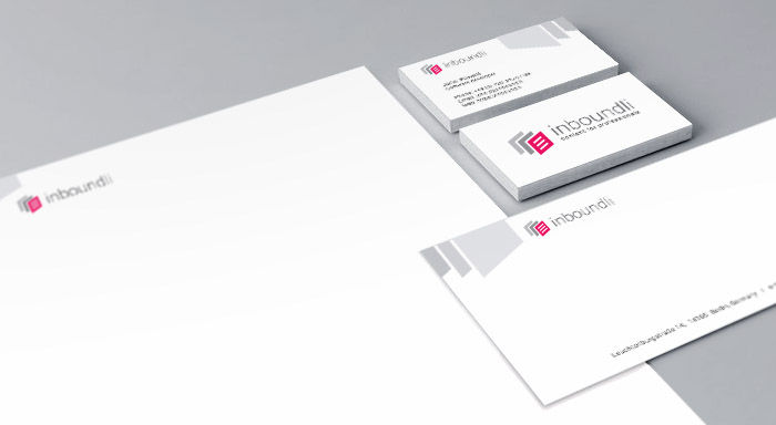 inboundli visual identity design - logotype, business card, letter, envelope