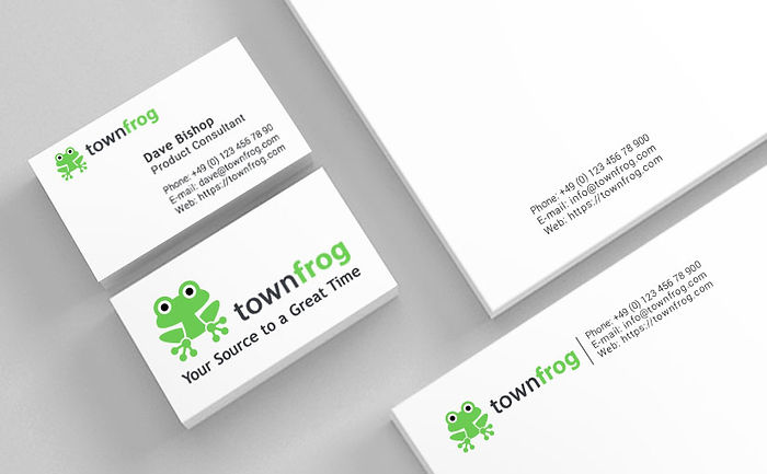 Townfrog visual identity design - logotype, business card, letter, envelope