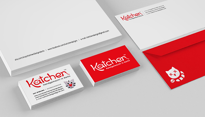 Katchen visual identity design - logotype, business card, letter, envelope