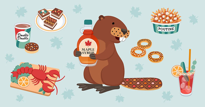 "Illustration for the article ""10 Gerichte, die du bei deinem nächsten Urlaub in Kanada probieren must"" (""10 dishes to try on your next holiday in Canada""), Babbel Magazine."