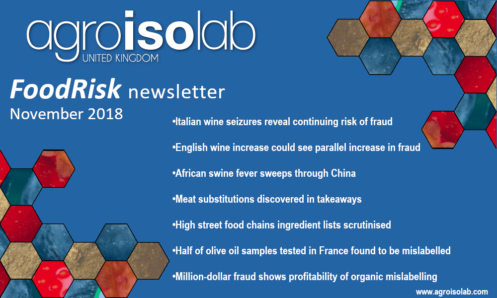 Agroisolab risk newsletter list detailing olive oil fraud, wine fraud and other food mislabelling
