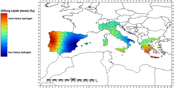 Hydrogen isotope ratios in European olive oils