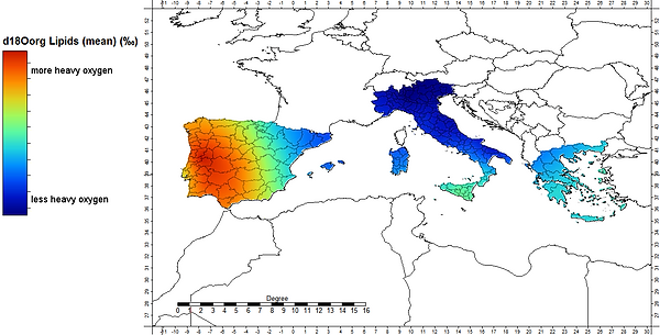 Oxygen isotope ratios in European olive oils