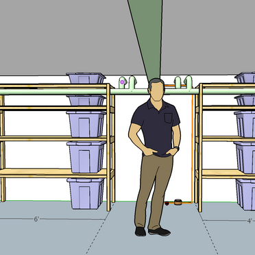 Max efficiency shelving units, protecting water main and other pipes, and making the space above usable. Sized for specific bin size and supply storage.