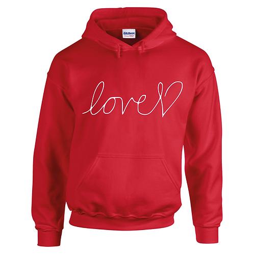 LOVE HEART RED ADULT HOODIE