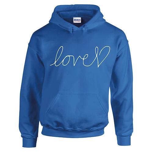 LOVE HEART ROYAL BLUE ADULT HOODIE