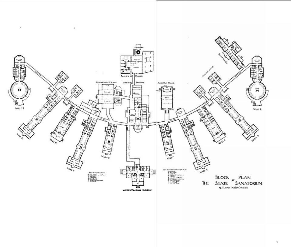 Rutland Heights State Hospital Block Plan ca. 1908