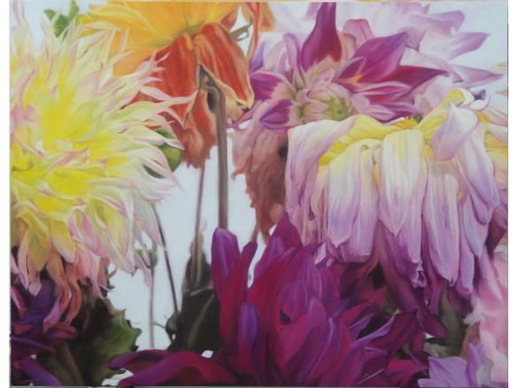 Dahlias multicolores jaune & rose