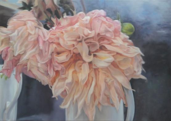 Dahlias rose & chair -1