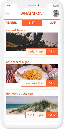 Niluk Feed view. Discover personal events around you based on your hobbies and interests.