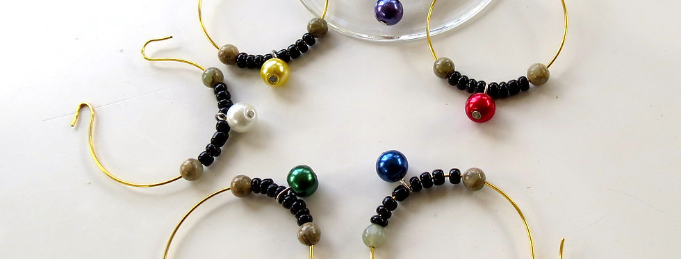 Colored Pearl Ball Wine Charms