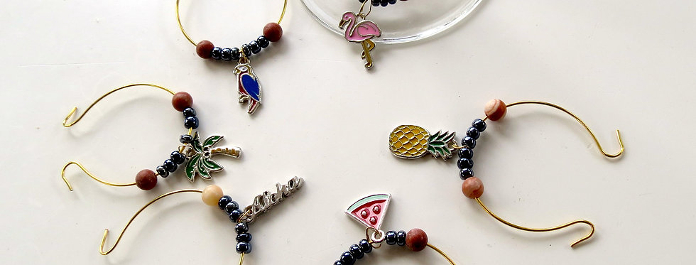 Summer Enameled Wine Charms