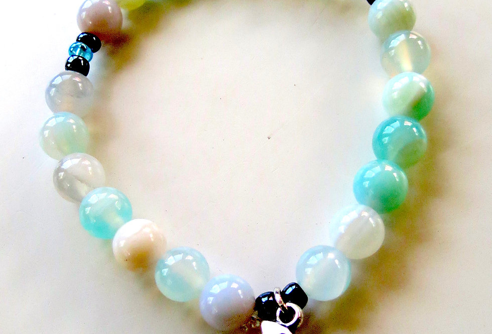 Sea Green Agate Bracelet with Charm