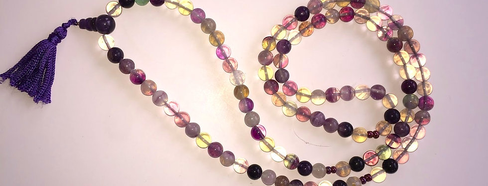 Rainbow Fluorite 108 Bead Mala