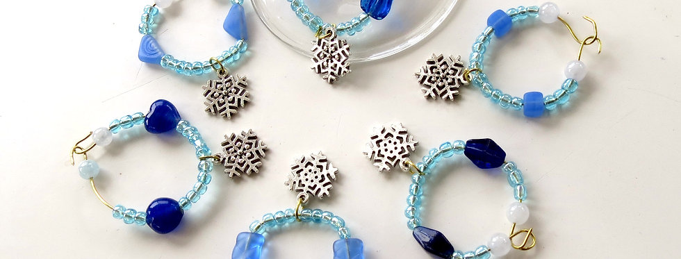 Snow Flake Themed Wine Charms