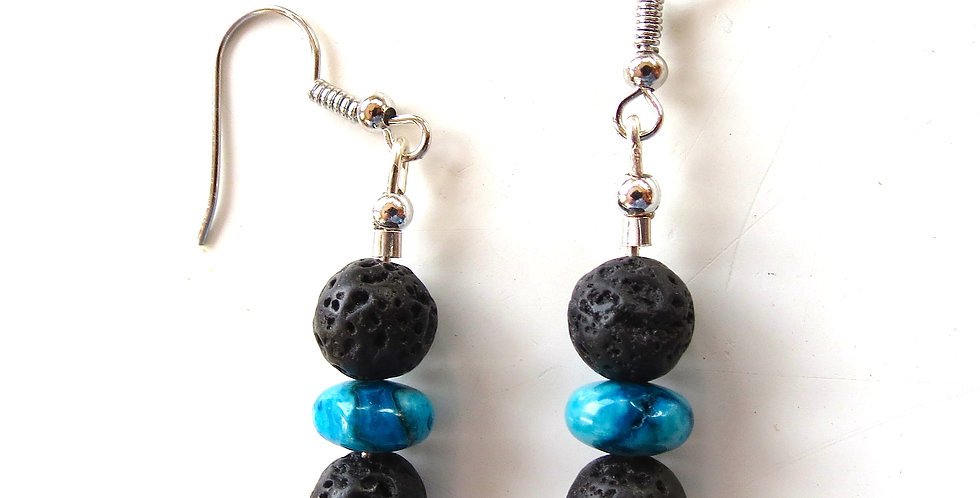 Lava Rock and Larimar Earrings