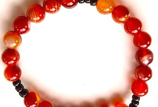 Red and White Agate Bracelet