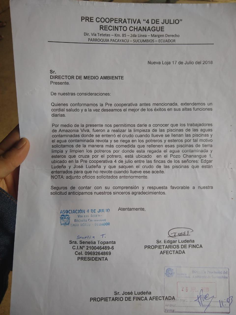Carta Chanangué a Oficina Medio Ambi