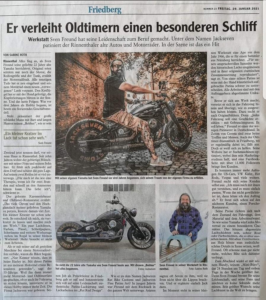 Pressebericht Jackseven fine patina art