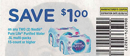 $1 OFF/2 NESTLE PURE LIFE PURIFIED WATER  5L MULTI-PACKS EXP 2/5/18