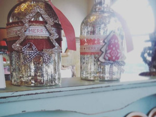Christmassy jars at Heeley Bank Antiques Centre